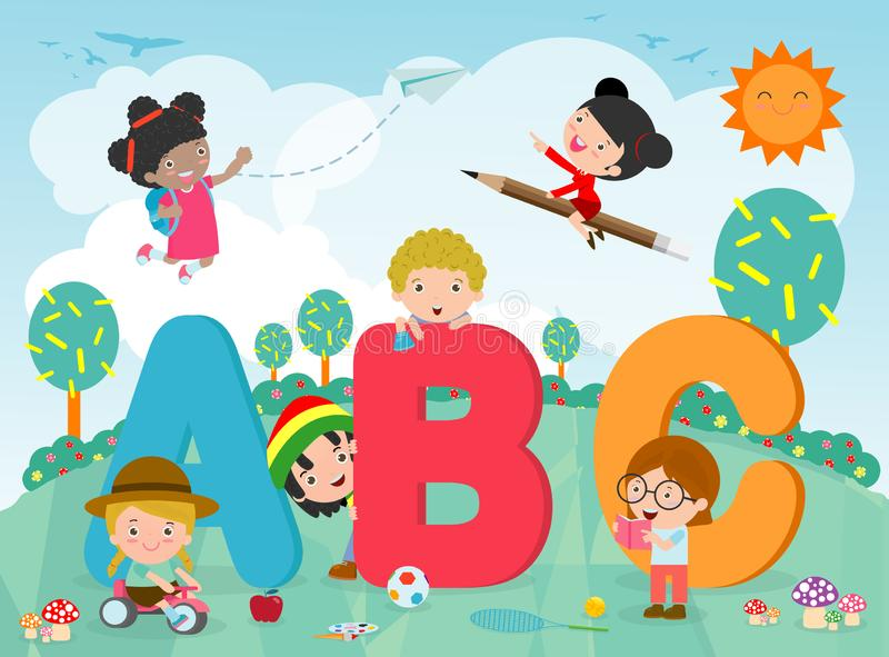 Il fumetto scherza con le lettere di ABC, bambini con ABC, bambini della scuola con le lettere di ABC, illustrazione di vettore illustrazione di stock