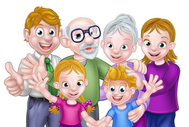 Il fumetto scherza i genitori ed i nonni royalty illustrazione gratis
