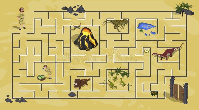 Il fumetto scherza il labirinto in mondo del dinosauro Labirinto del modo di Dino Percorso del ritrovamento del ricercatore di ai illustrazione vettoriale