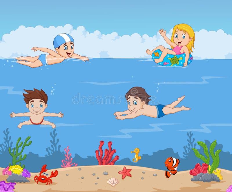 Il fumetto scherza il nuoto nell'oceano tropicale illustrazione vettoriale