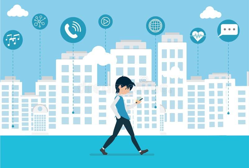 Il fumetto sta camminando nella tecnologia di Smart City fotografia stock libera da diritti