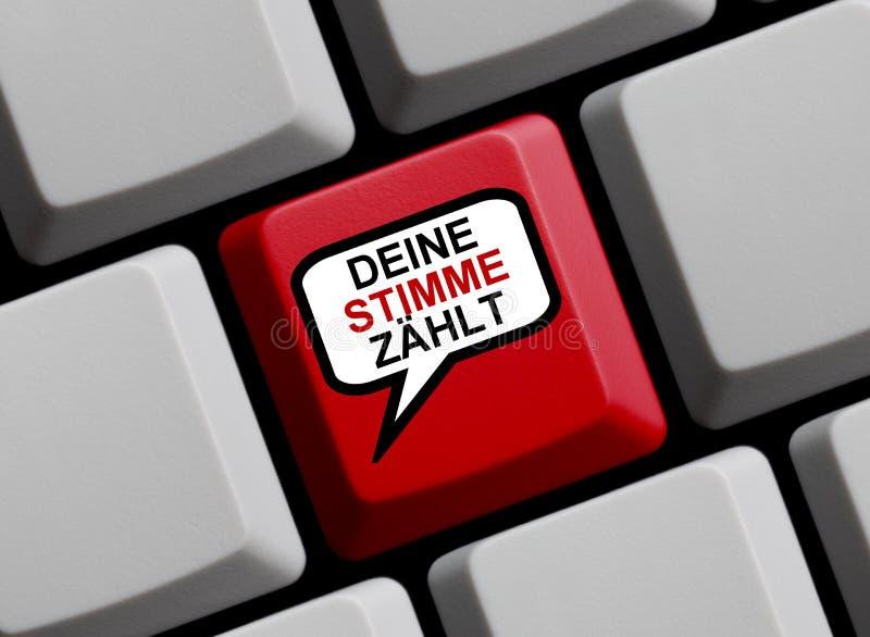 Il fumetto sulla tastiera di computer che mostra il vostro voto conta il tedesco fotografia stock libera da diritti