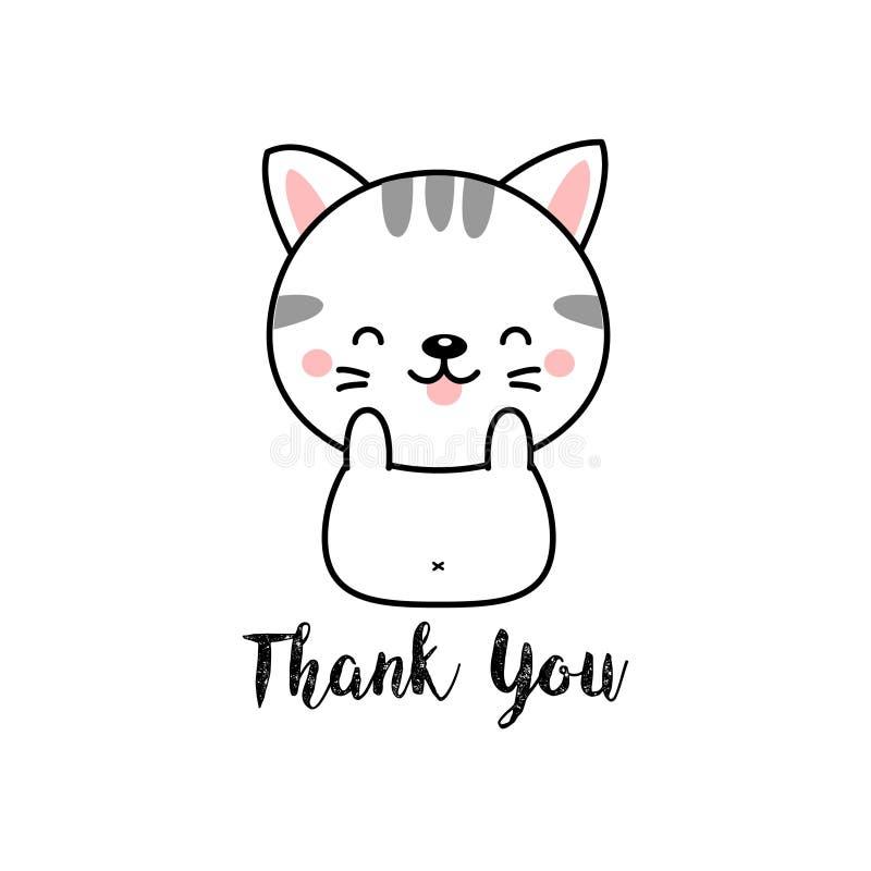 Il fumetto sveglio del gatto con vi ringrazia che segnate illustrazione vettoriale