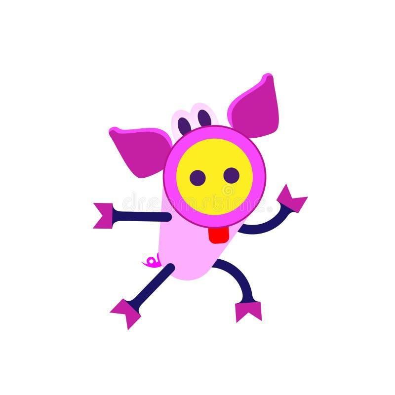 Il fumetto sveglio di porcellino fugge Segno cinese dello zodiaco, buon anno 2019 anni del maiale illustrazione di stock