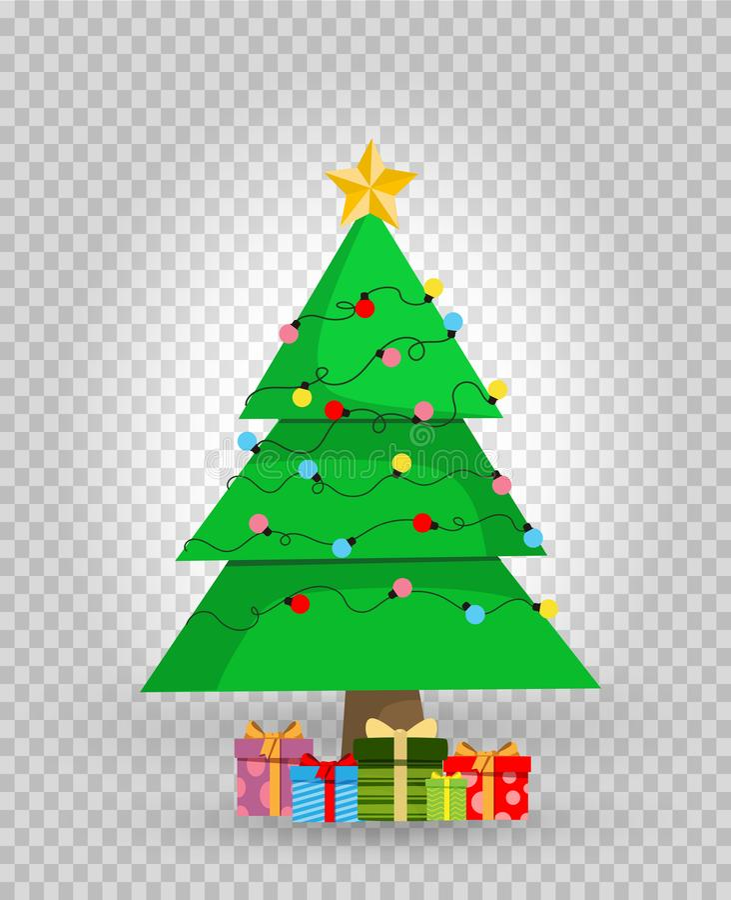 Il fumetto sveglio ha decorato l'albero di abete di Natale con i regali e presenta il clipart illustrazione di stock