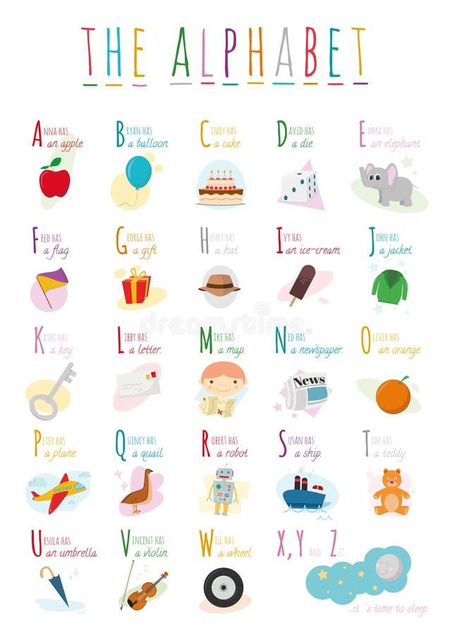 Il fumetto sveglio ha illustrato l'alfabeto con i nomi e gli oggetti Alfabeto inglese illustrazione di stock