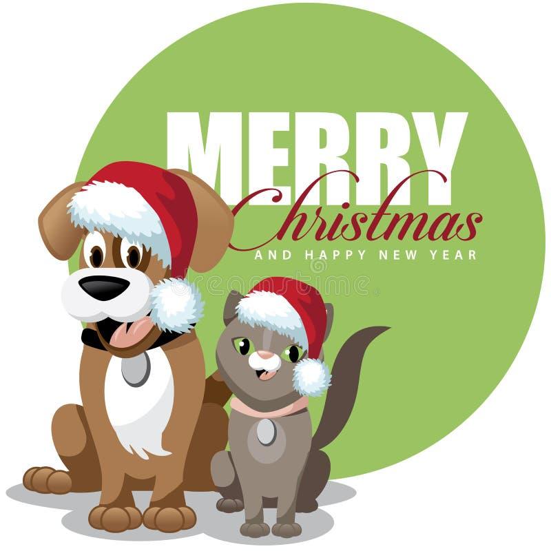 Il fumetto sveglio pets la cartolina d'auguri dei cappelli di Santa illustrazione vettoriale
