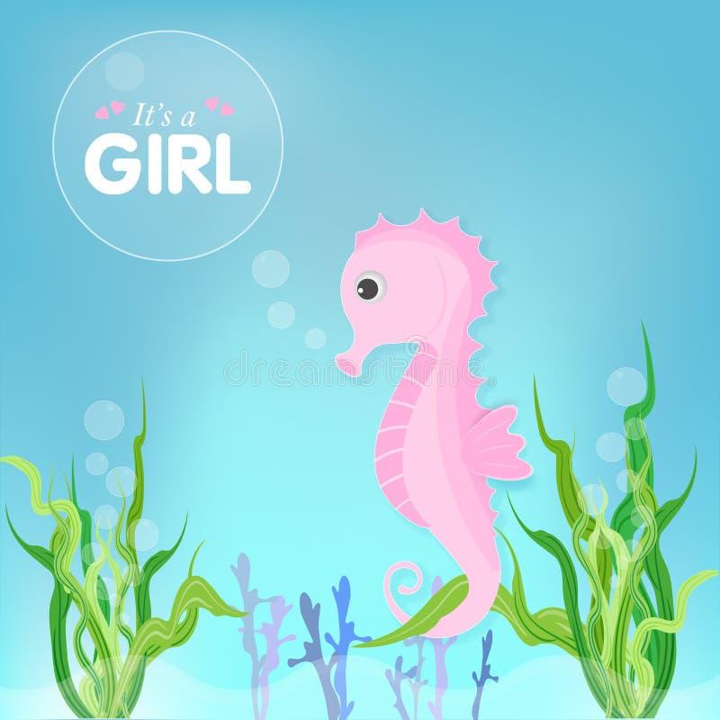 Il fumetto sveglio rosa dell'alga e dell'ippocampo inonda la carta, cartolina d'auguri illustrazione di stock
