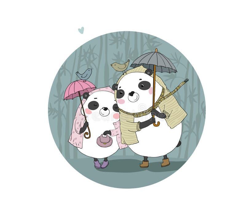 Il fumetto sveglio sopporta i panda Tema di autunno Oggetti isolati disegno della mano su fondo bianco Vettore royalty illustrazione gratis