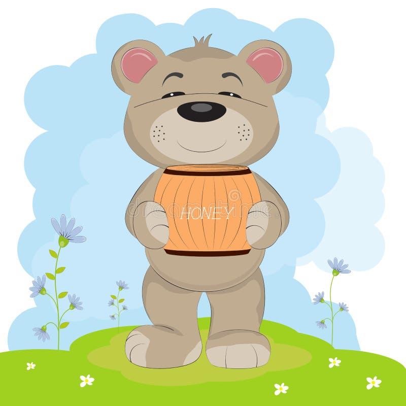 Il fumetto un orso felice sveglio porta un barilotto di miele royalty illustrazione gratis