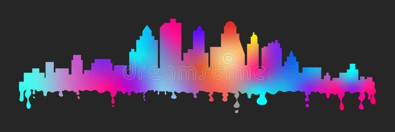 Il fumetto variopinto di vettore macchia la siluetta stilizzata di paesaggio urbano illustrazione vettoriale