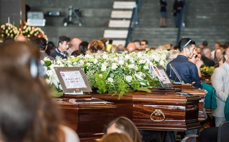 Il funerale ha tenuto per le vittime del ponte di Morandi, Genova fotografia stock libera da diritti