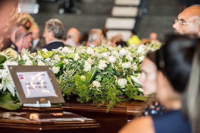 Il funerale ha tenuto per le vittime del ponte di Morandi, Genova fotografie stock