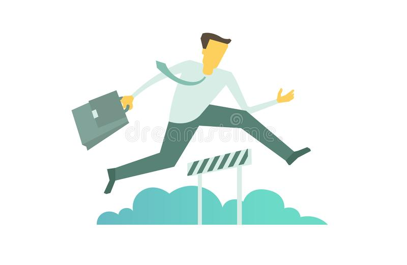 Il funzionamento dell'uomo d'affari salta sormontando il concetto di ostacoli di affari della barriera illustrazione di stock