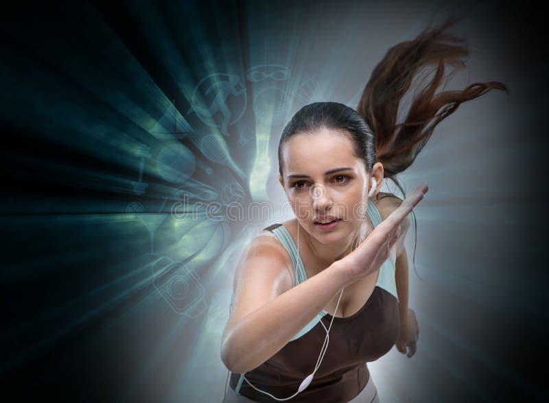 Il funzionamento della donna nel concetto di sport immagini stock
