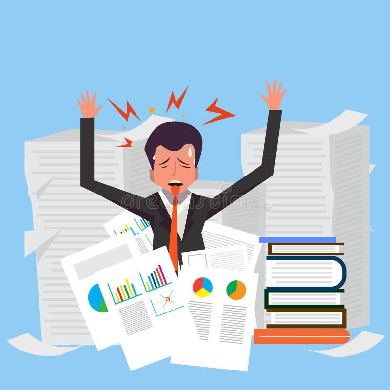 Il funzionamento molto occupato dell'uomo d'affari logora il suo scrittorio in ufficio royalty illustrazione gratis