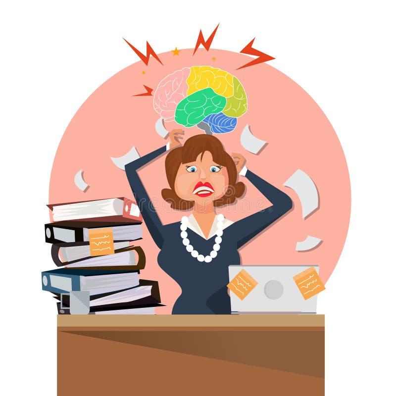 Il funzionamento molto occupato della donna di affari logora il suo scrittorio in ufficio con molto lavoro di ufficio illustrazione vettoriale