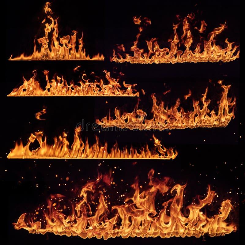 Il fuoco fiammeggia la raccolta isolata sul nero fotografie stock