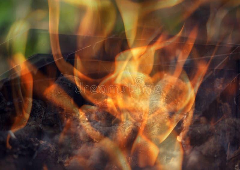 Il fuoco nella griglia fotografia stock