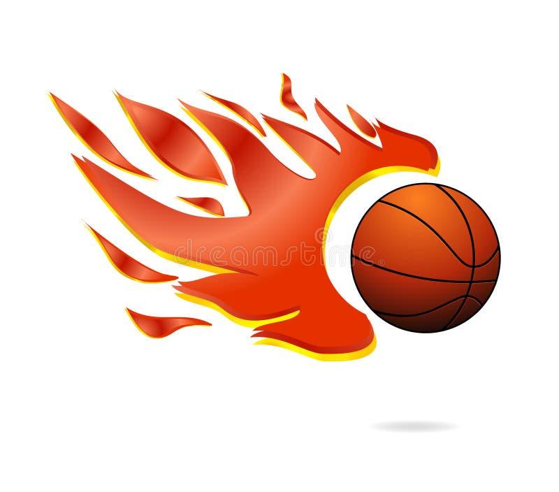 Il fuoco rosso e la sfera arancione di pallacanestro della mosca firmano illustrazione vettoriale