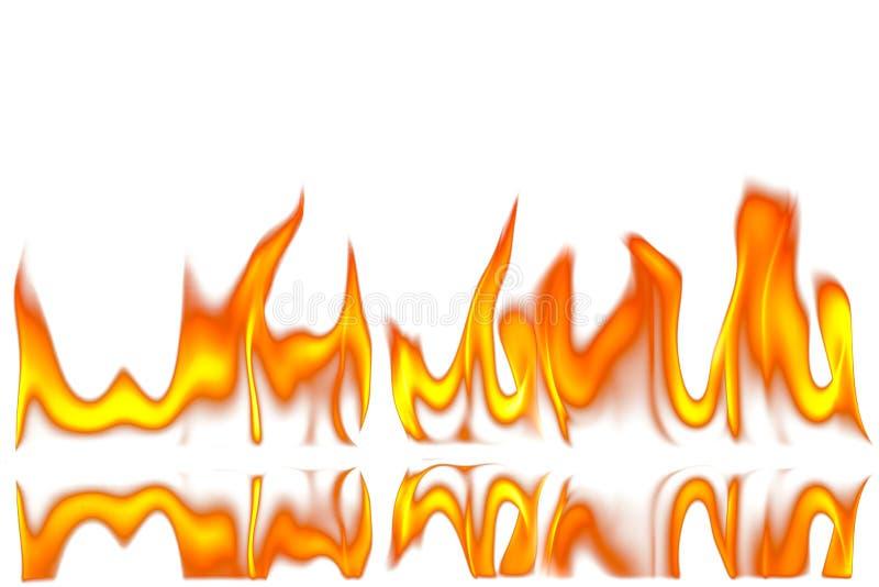 Il fuoco rosso ed arancio fiammeggia su fondo bianco fotografia stock