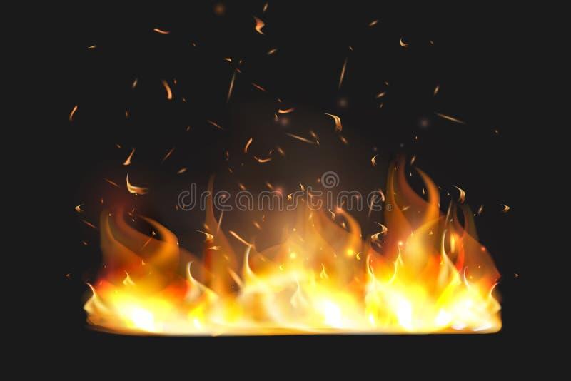 Il fuoco rosso scintilla il vettore che vola su Particelle d'ardore brucianti Fiamma di fuoco con le scintille nell'aria durante  illustrazione vettoriale