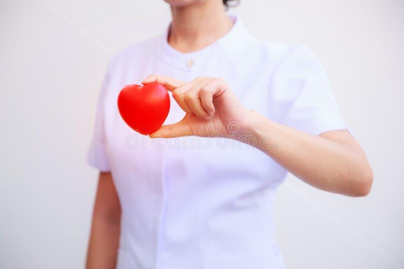 Il fuoco selettivo di cuore sorridente rosso ha tenuto dalla mano femminile del ` s dell'infermiere, rappresentante dando la ment immagine stock