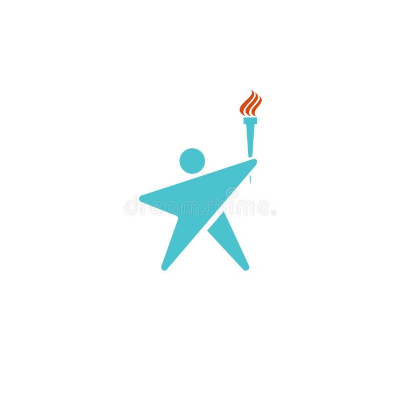 Il fuoco umano della torcia di logo del capo, siluetta dell'uomo ha modellato il logotype del modello della stella, icona del cam royalty illustrazione gratis
