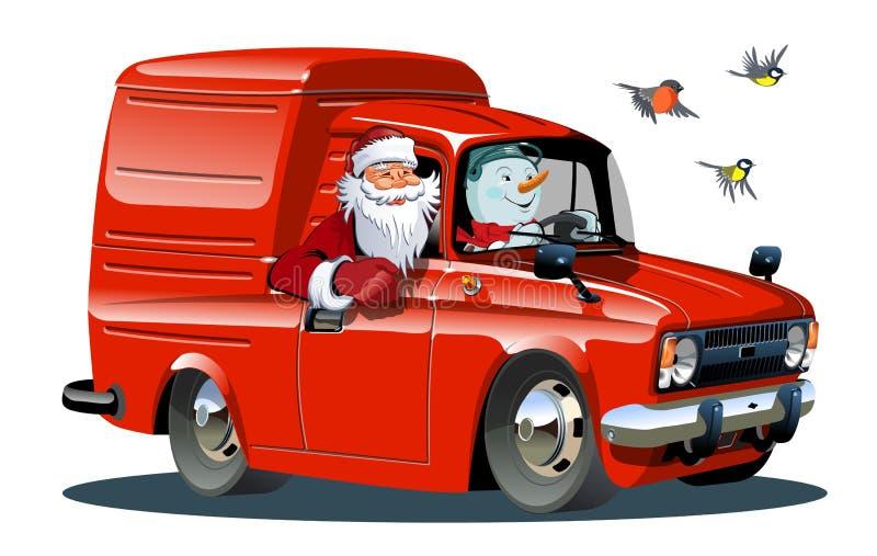 Il furgone del retro nuovo anno del fumetto isolato su fondo bianco illustrazione vettoriale