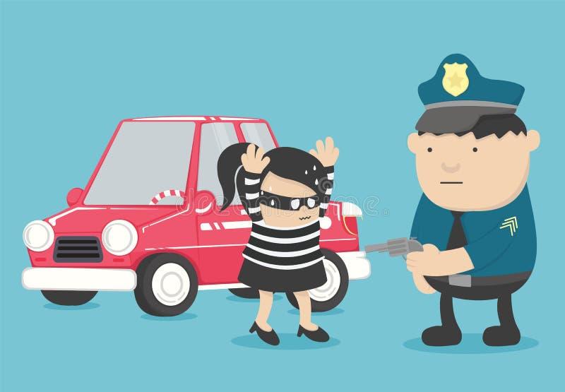 Il furto di automobile il bandito di una ragazza presa dalla polizia è una carriera royalty illustrazione gratis