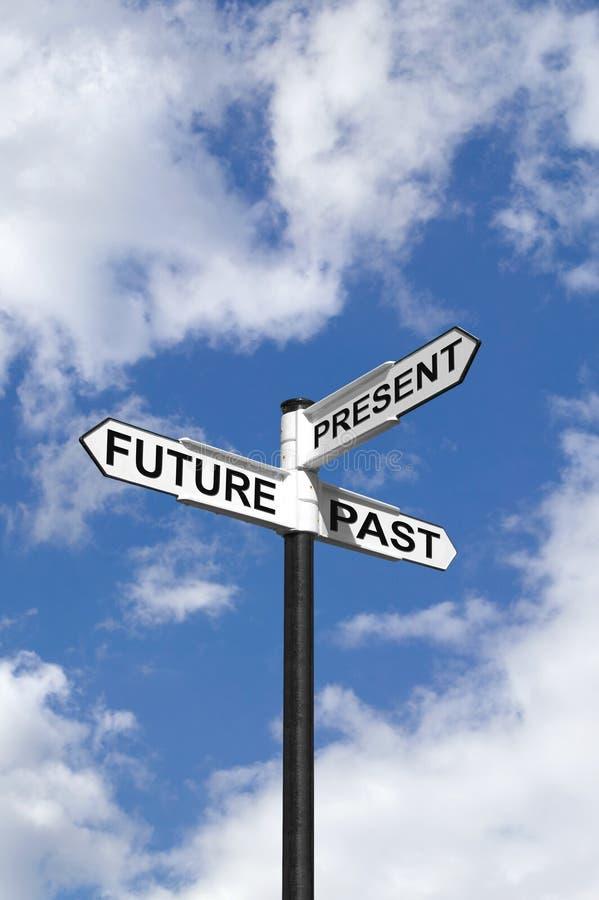 Il futuro passato & presente firma dentro il cielo fotografie stock