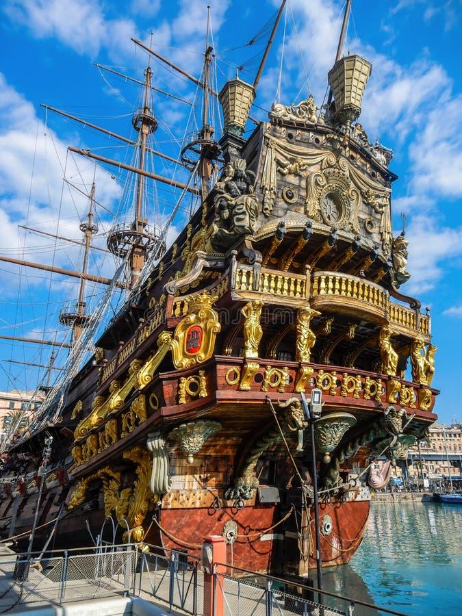 Il Galeone Neptune pirate ship in Genoa Porto Antico Old harbor, Italy. royalty free stock photo