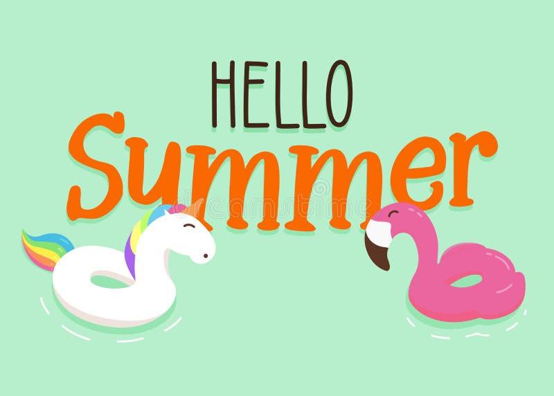 Il galleggiante allegro e felice del fenicottero e dell'unicorno suona con ciao il fondo del messaggio dell'estate Progettazione  illustrazione di stock