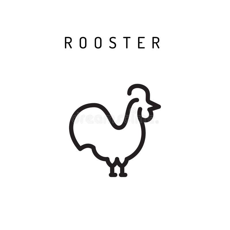Il gallo chiken l'icona illustrazione di stock