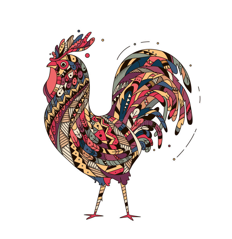 Il gallo dell'illustrazione ha ispirato lo stile dello zentangle illustrazione vettoriale