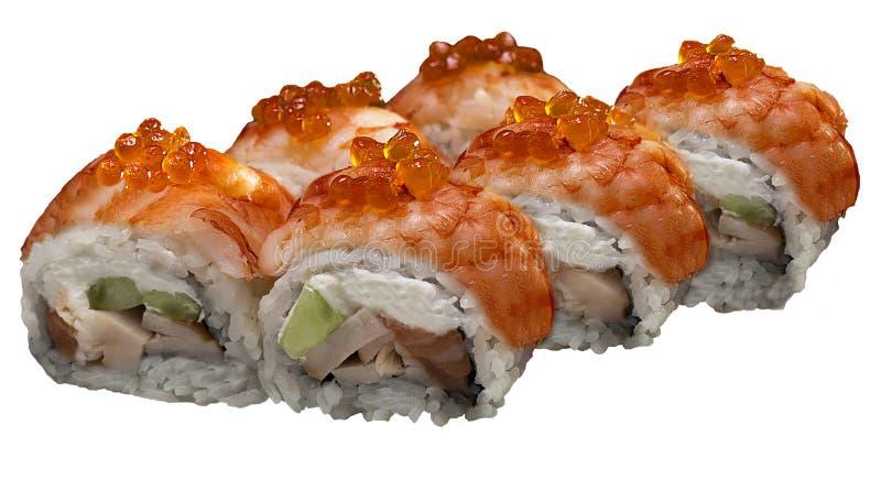 Il gamberetto dei sushi rotola i frutti di mare del menu dell'alimento fotografie stock