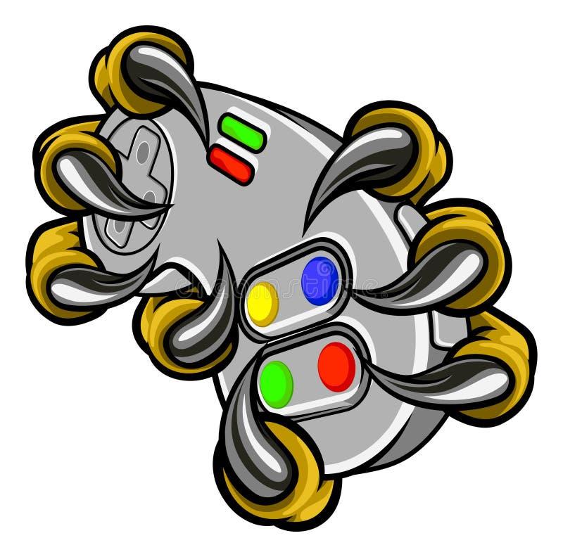 Il Gamer del mostro graffia il regolatore dei giochi della tenuta illustrazione vettoriale