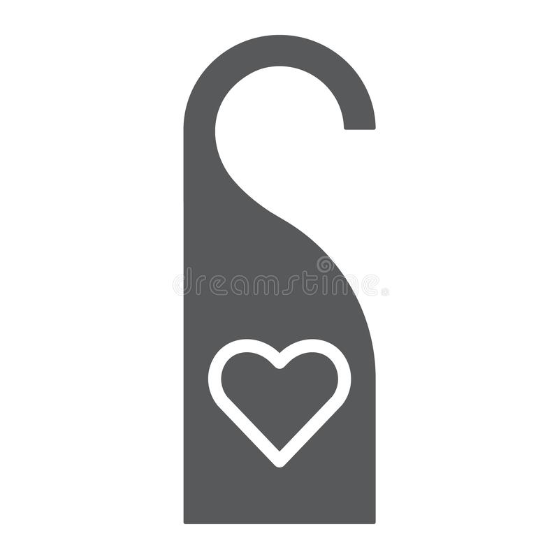Il gancio di porta con l'icona, l'etichetta e l'amore di glifo del cuore, non disturba il segno, la grafica vettoriale, un modell illustrazione di stock