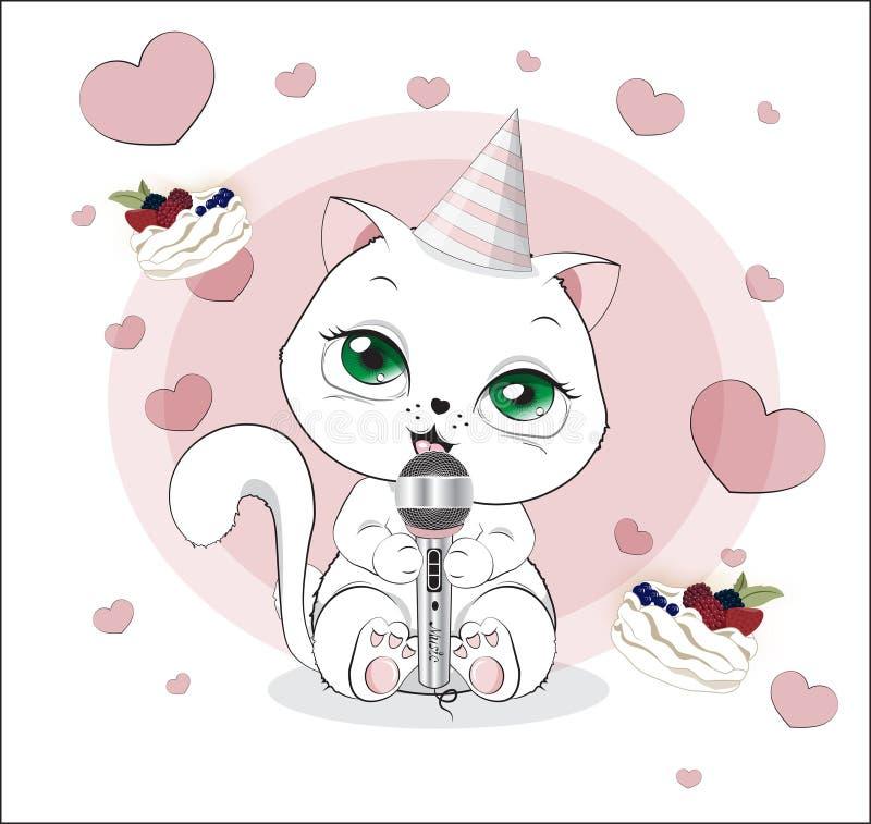 Il gattino adorabile canta illustrazione di stock