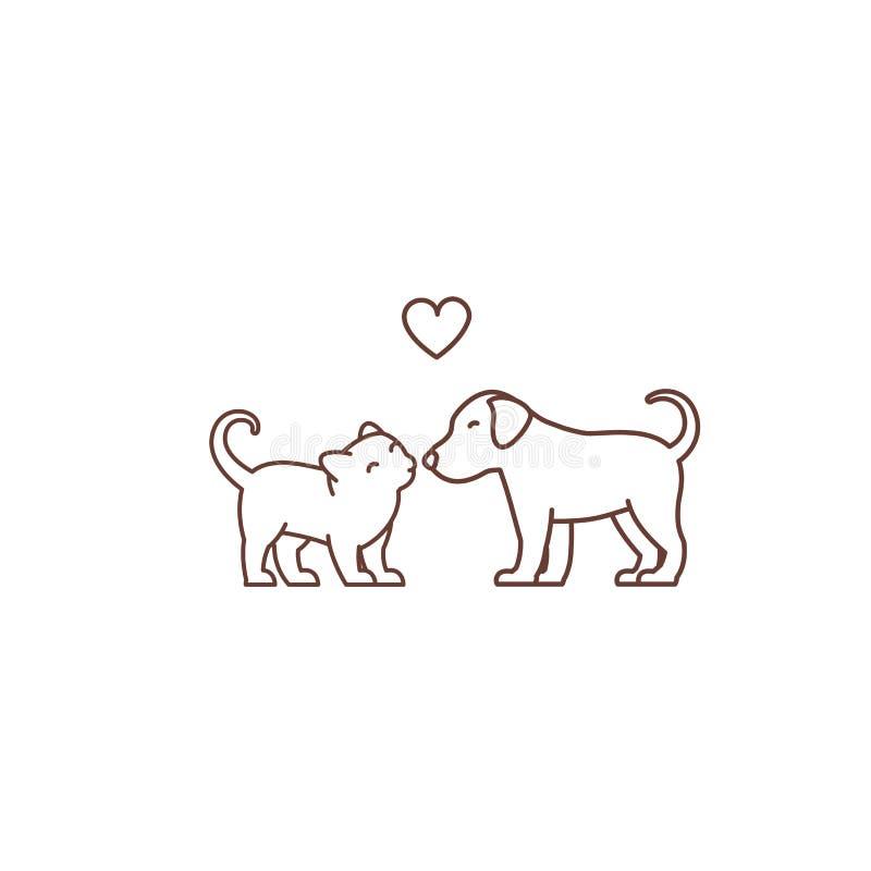 Il gattino bacia il logo o l'icona del cucciolo Amicizia delle specie Amore e cuore Gatto e cane Negozio di animali Linea di cont illustrazione vettoriale