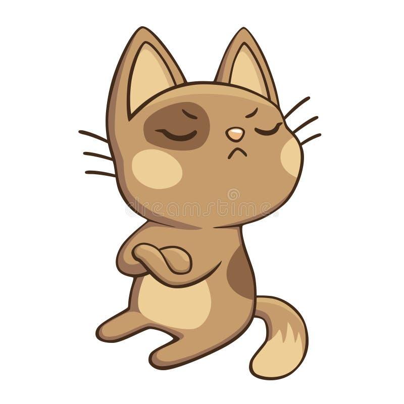 Il gattino infelice ha girato via irritato, isolato, vettore Gatto nocivo arrogante che rifiuta di parlare Autoadesivo divertente illustrazione vettoriale