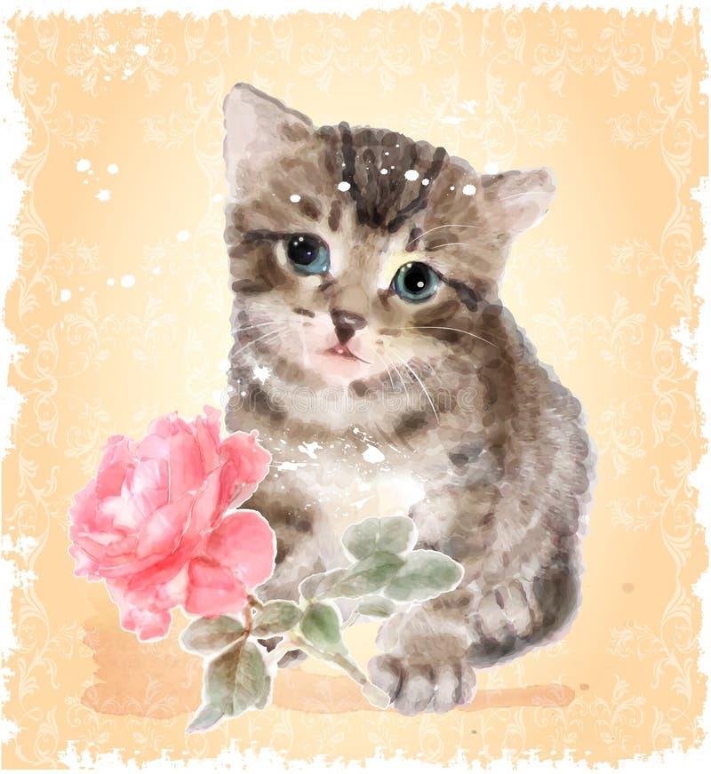 Il gattino lanuginoso con è aumentato illustrazione di stock