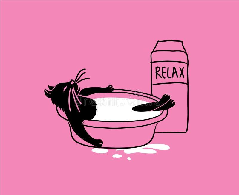Il gatto è bagnato in latte Schizzo di un gatto su un fondo rosa illustrazione di stock