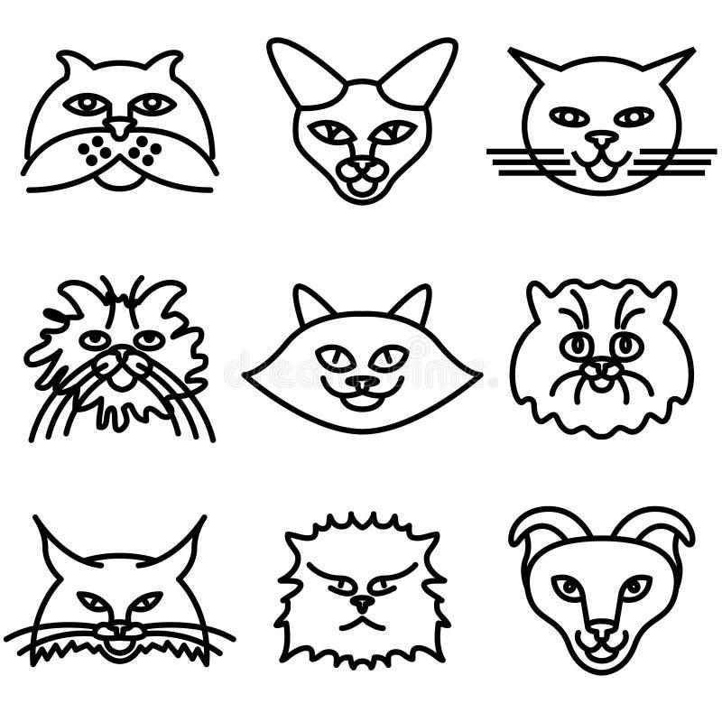 Il gatto affronta le icone illustrazione vettoriale