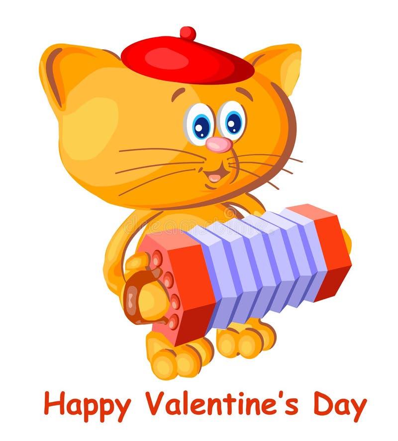 Il gatto allegro canta a canzoni il concertino francese occhi azzurri rossi del berretto vettore sveglio di stile cartolina bianc illustrazione di stock