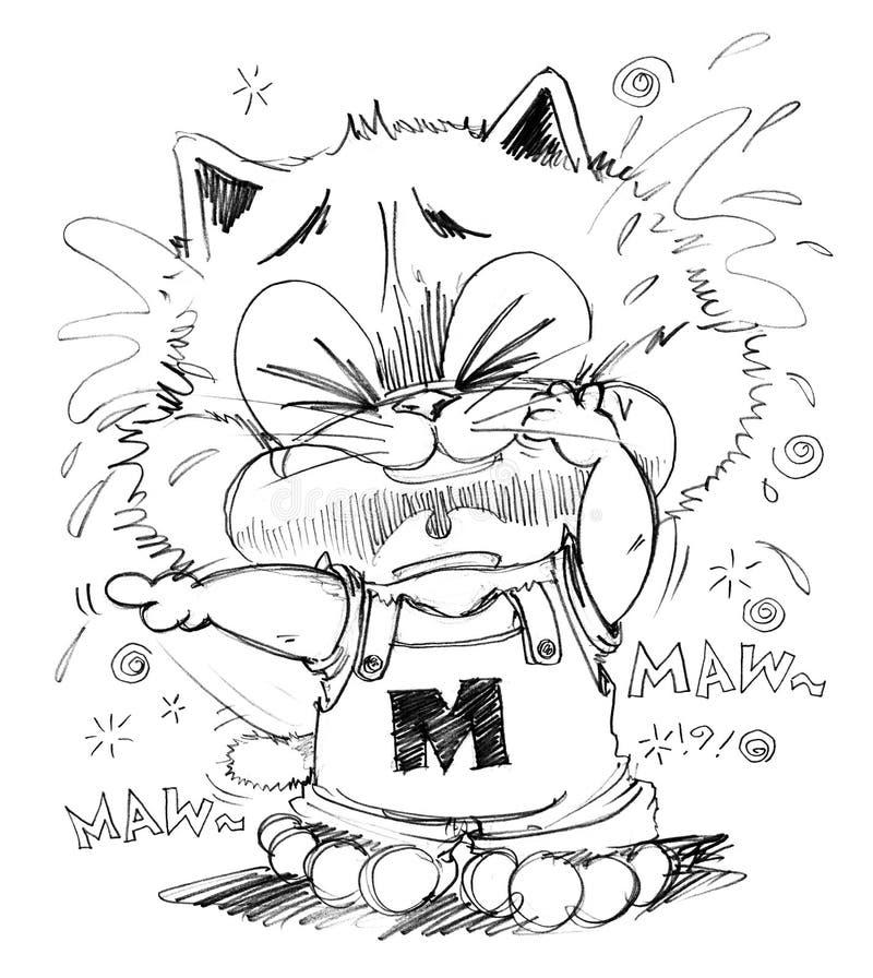 Il gatto che grida lo sguardo molto povero e cita royalty illustrazione gratis