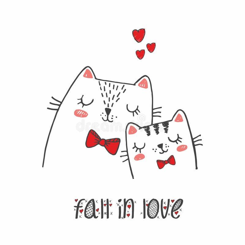 Il gatto delle coppie di progettazione di carattere dell'illustrazione di vettore si innamora e poco cuore per il giorno di S. Va royalty illustrazione gratis