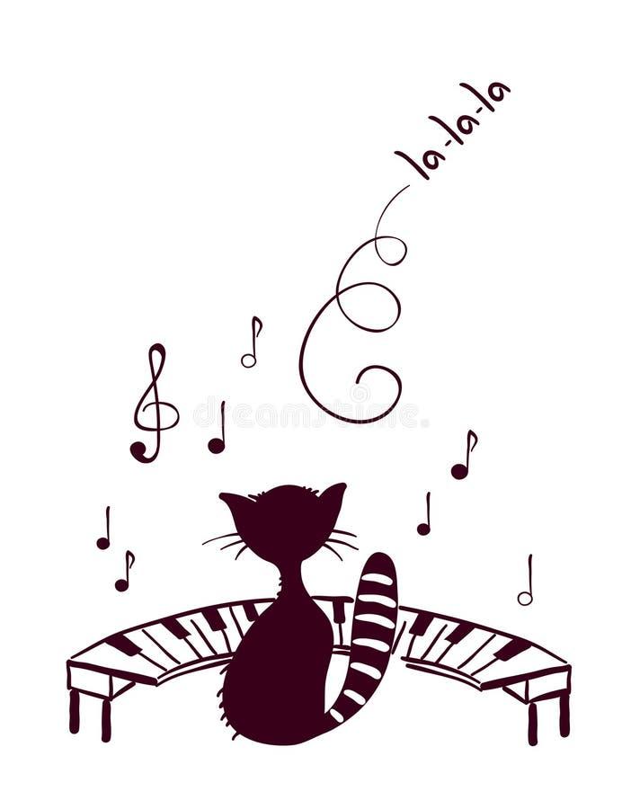 Il gatto di musica canta royalty illustrazione gratis