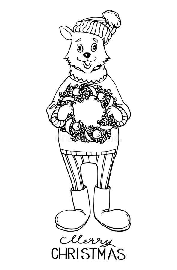 Il gatto disegnato a mano del fumetto di schizzo con Natale si avvolge in sue mani illustrazione vettoriale