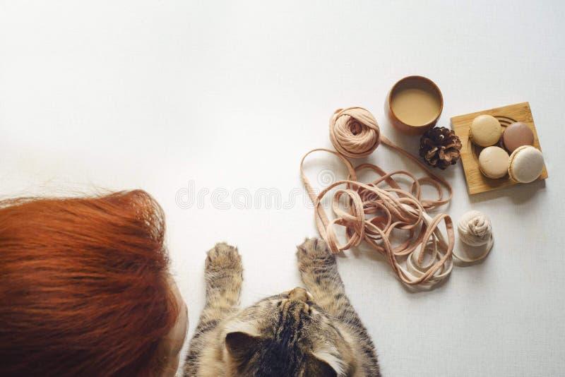 Il gatto e la donna con peli rossi bevono il caffè fotografie stock